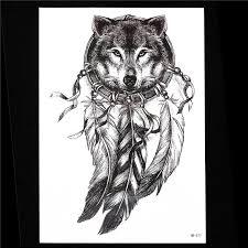 1pc Sketch Black Tattoo Sticker Women Men 3D Body Art HB577 Wolf Dreamcatcher Indian Feather Flower