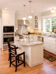 Small Kitchen Ideas Pictures Displaying Rectangle Black White Island And L Shaped Cabinet