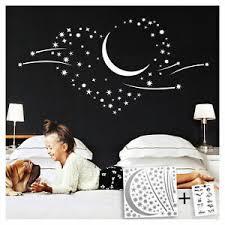 details zu wandtattoo schlafzimmer sterne wandaufkleber kinderzimmer mond wand deko w757