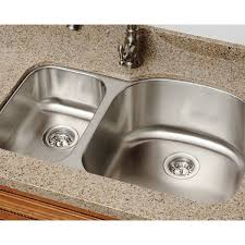 Overstock Stainless Steel Kitchen Sinks by Polaris Sinks Pr1213 16 Offset Double Bowl Stainless Steel Kitchen