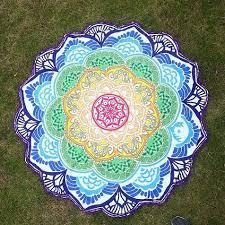 paréo de type mandala fleur de lotus tapis de mango deco