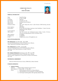 Curriculum Vitae Sample Format Malaysia Save Resume 2015 Samples New Pdf