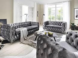 sofagarnitur 3 2 1 silber grau chesterfield samtstoff