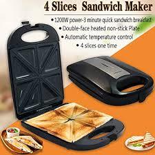 elektro sandwich maker 4 scheibe toast dual grill non stick