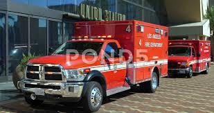 100 Emergency Truck LAFD Paramedic Trucks Respond To Emergency At Union Station In Los