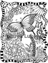 Butterfly Garden 1 Adult Coloring Book Page Printable Instant Download