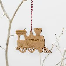 Christmas Tree Names by Family Train Personalised Christmas Tree Decoration By Wooden Toy