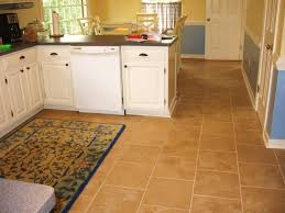 brown square tile kitchen floor plus rug combined with white
