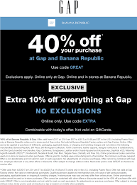 Gap Coupons - 40% Off Everything Today At Gap & Banana How To Save Money At Gap 22 Secrets From A Seasoned Gp Coupon Code Corner Bakery Coupons Printable Shop For Casual Womens Mens Maternity Baby Kids Coupon Baby Gap Skin Etc Friends And Family Recycled Flower Pot Ideas Lampsusa Ymca Military Discount Canada Place Cash Anaconda Free Shipping Finally Parallels Coupons Bridge The Between Mac And Pinned May 2nd 10 Off 30 Kohls Or Online Via Promo Om Factory 1911 Sale 45 Uae Promo Code Up 50 Off Codes Discount
