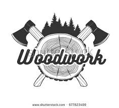 Woodworking Logo Template Black And White Vector Objects