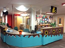 100 Design A Pirate Ship Theme Front View Circulation Desk Decorated To Look Like A