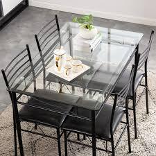 Esszimmer Verschiedene Stã Hle Us Warehouse 110x70x76 Cm Eisen Glas Esstisch Und Stühle Schwarz Einem Tisch Und Vier Stühle Pu Kissen