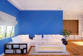 foto auf lager modernes wohnzimmer mit möbeln und blauer leerer wand 3d rendering
