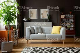 echtes foto einem wohnzimmer interieur mit einem sofa baum gemälde und vintage schrank stockfoto und mehr bilder asymmetrisch