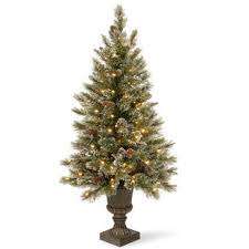 Green White Pine Trees Artificial Christmas Tree With 150 Incandescent Clear Lights