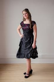 fuchsia and black lace bustled knee length modest dress u2013 trendy