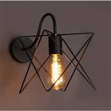 modern retro loft wall ls black iron metal triangle cage