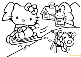Hello Kitty Enjoying Snow Skating With Her Friends Coloring Page