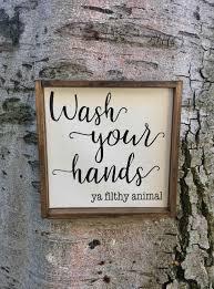 U Rulesu Decor Powder Room Farmhouse Wood Rustic Bathroom Signs Sign
