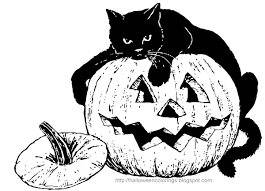 This Big Fat Black Cat Will Look Lovely Once It Is Coloured In And Shown Laying Pumpkin Coloring PagesHalloween
