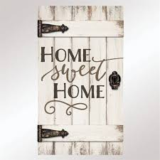 Home Sweet Barn Door Wall Plaque Whitewash