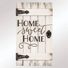 Home Sweet Barn Door Wall Plaque Whitewash