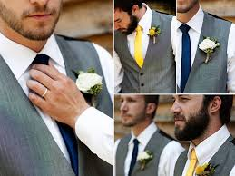 Casual Spring Wedding Groom Wears Grey Tailored Suit And Yellow Tie