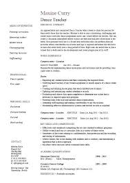 Dance Resume Sample Teacher Registration Form Template Dancer
