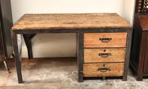 19th Century Desk in Metal with Wood Top and Drawers at 1stdibs