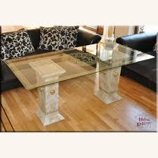 esstisch medusa wohnzimmertisch säulen tisch glastisch marmor optik sto 1042m 18v stuckgips 180cm