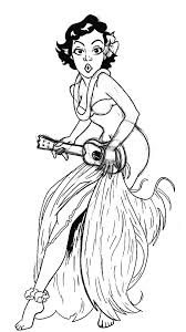 Hula Girl Play Ukulele Coloring Pages