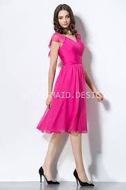 pretty cute fuchsia chiffon ruffled cap sleeve knee length