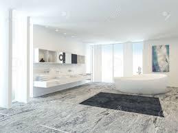 luxus hell weiß modernen badezimmer interieur mit einer freistehenden badewanne und wand doppelwaschtisch langen fenstern und einem gefliesten