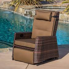 Brown Wicker Outdoor Recliner Rocking Chair by Christopher Knight