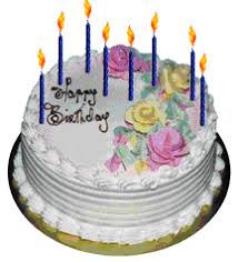 animated birthday cake with flowers