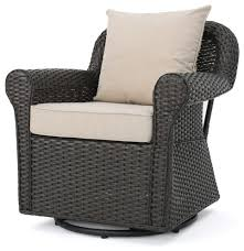 GDF Studio Admiral Outdoor Wicker Swivel Rocking Chair, Water Resistant  Cushions