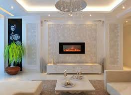 Luxury Living Room With LED Lighting And Mounted Electric Fireplace