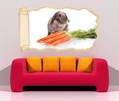 3d wandtattoo tapete hase karotten kaninchen süß tier durchbruch selbstklebend wandbild wandsticker wohnzimmer wand aufkleber 11o1549 wandtattoos