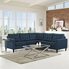 Empress 3 Piece Upholstered Fabric Sectional Sofa Set Azure By Modern Living