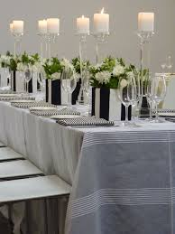 Table Linen Centrepiece By Art White Sheer Stripe Overlay Black Underlay Napkins Crystal Candlesticks Fabric Covered Vases