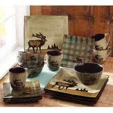 Stoneware Dinnerware Set 16 Piece Elk Country Cabin Rustic