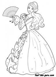 Printable Barbie Princess Dress Colouring Book Pages