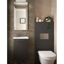 badmöbel set badezimmer möbel 40 cm hänge grau mit waschtisch und spiegel