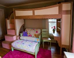 Charming Bunk Beds With Stairs In Brown And Pink Theme Lovely Sofa Set Desk