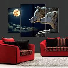 henypt 4 stück leinwand gedruckt wandbilder zwei wölfe im mond bild wandkunst wohnzimmer schlafzimmer dekoration rahmenlos 30 60 cm 2 30 80
