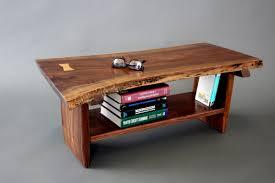 live edge walnut petite coffee tablebench with sliding dovetail