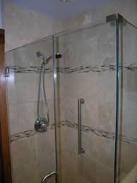 bathroom walk in shower with steel vertical grab safety handles