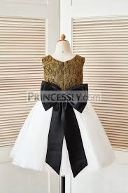 gold lace ivory tulle wedding flower dress with black big bow