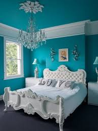 Classic White Bed Furniture Blue Wall Paint Colors Bedroom Decorating Ideas