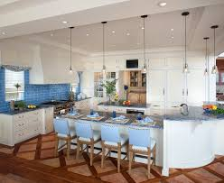 blue kitchen countertops style with glass pendant lights